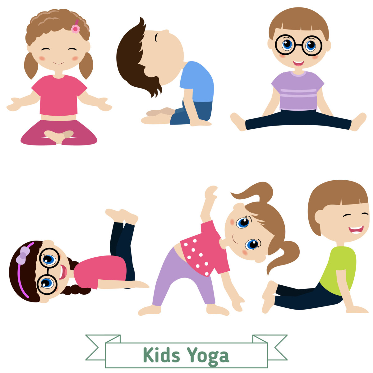 Children doing yoga in different positions